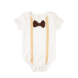 Tan  Suspenders Brown Bowtie Bodysuit