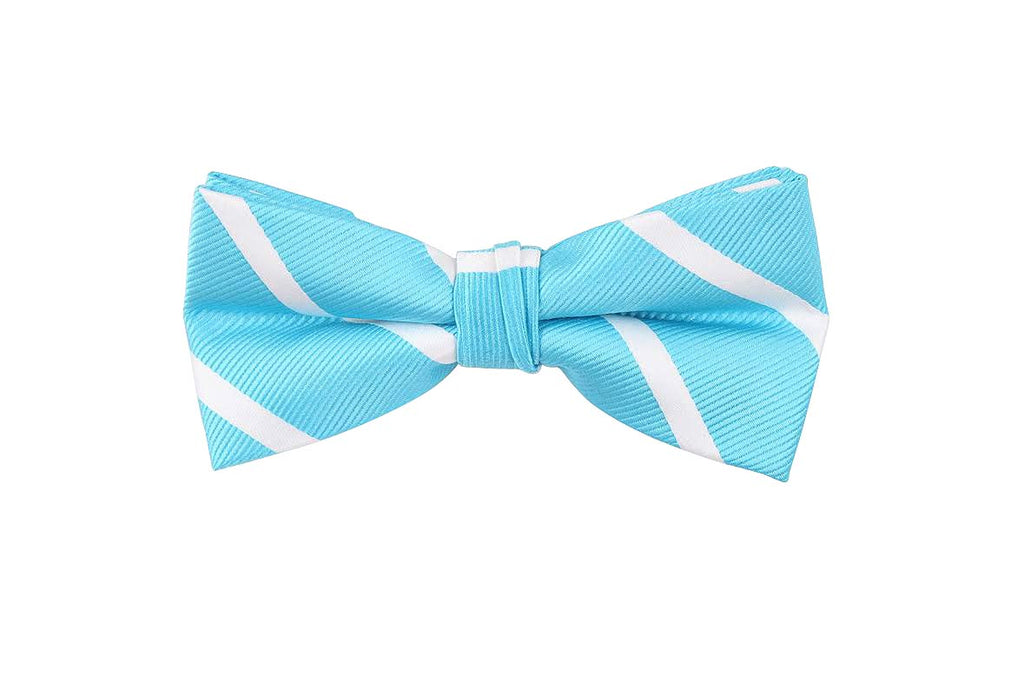 Light Blue Striped Bow Tie