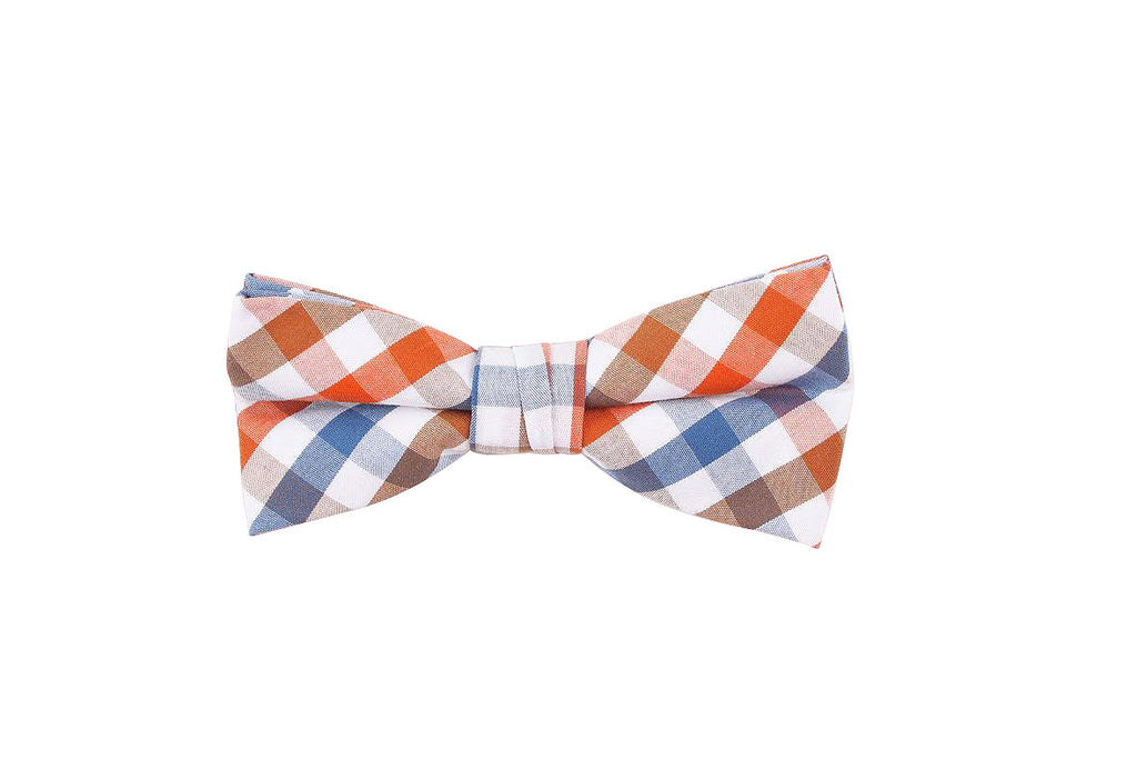 Orange Blue Checkered Bow Tie