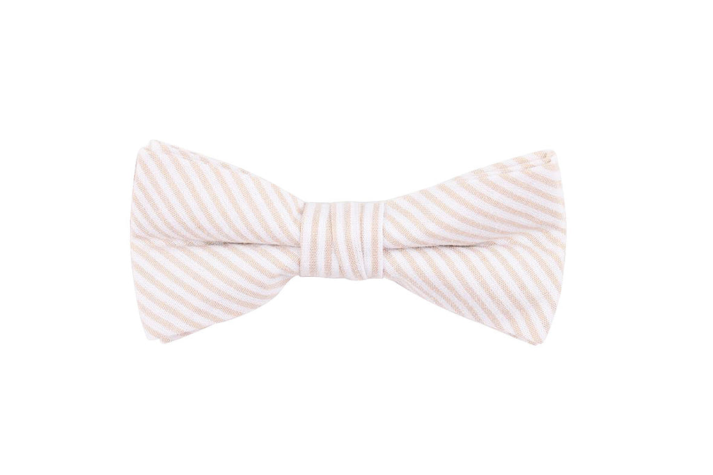 Cream Striped Bow Tie