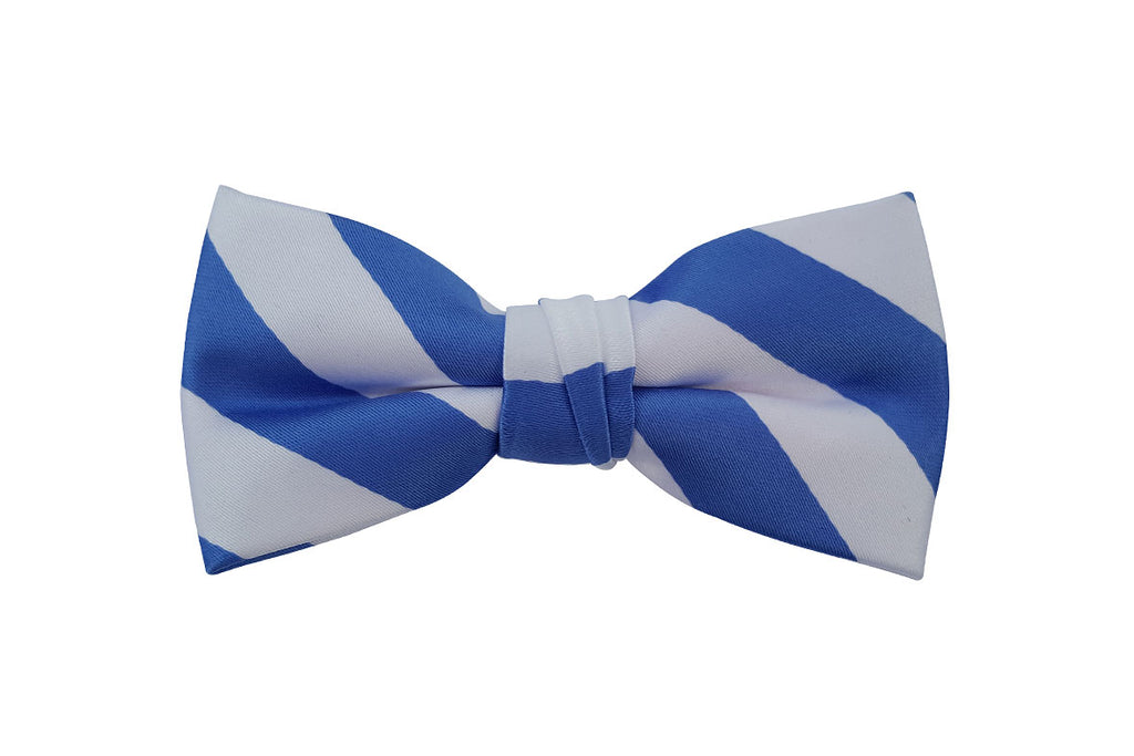 Blue and White Striped Bow Tie
