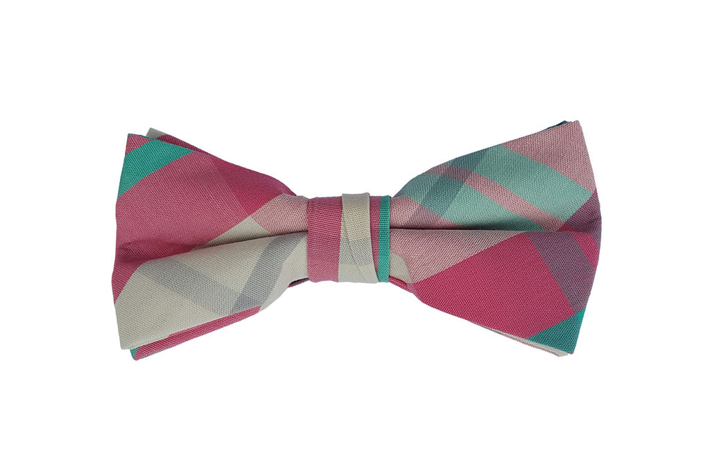 Pink Checkered Bow Tie
