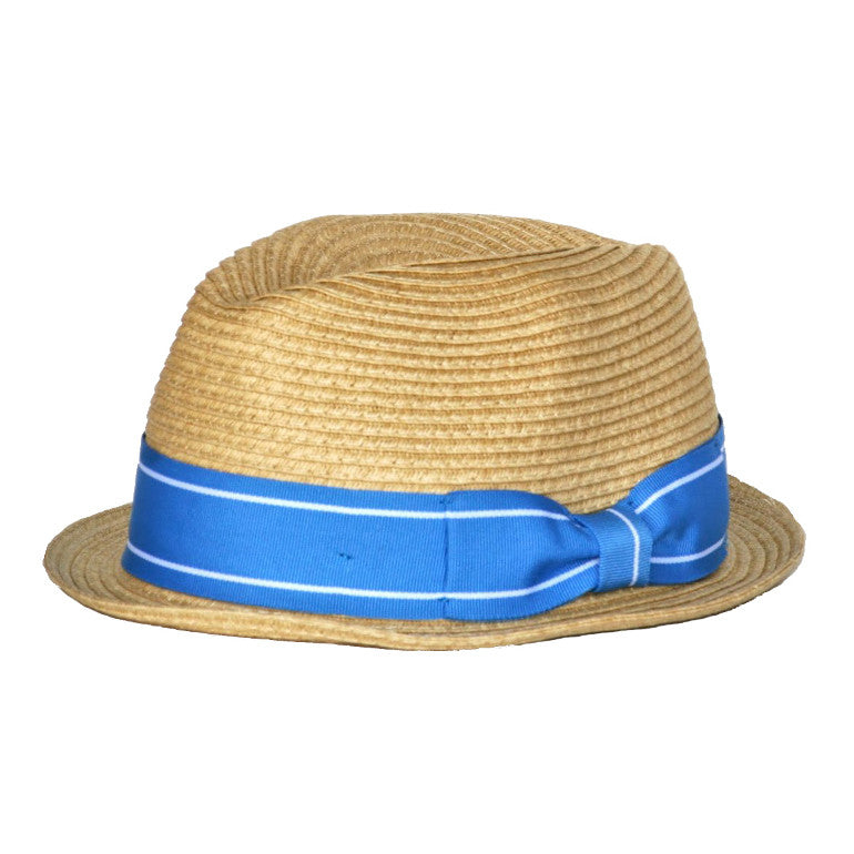 Born to Love Boy Straw Fedora with Blue Band