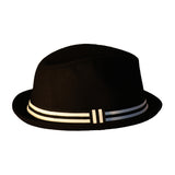 Black Fedora with Black and White Band