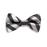 Light Grey Stipe Baby Kids Bow Tie