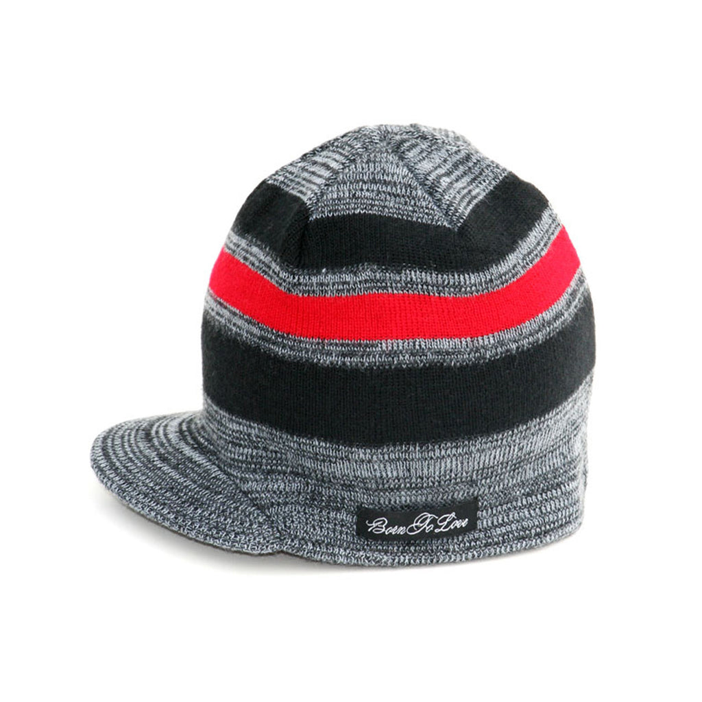 Gray and Red Stripe Beanie