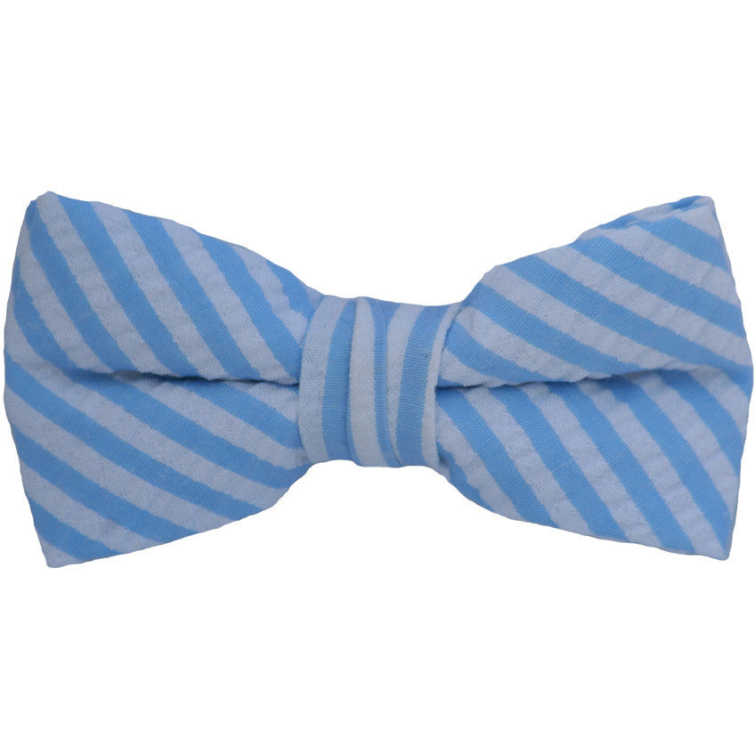 Blue and White Stripes Sheersucker Bow Tie