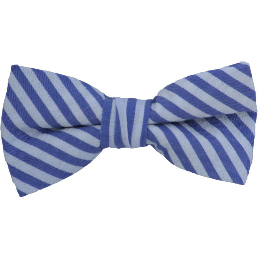 Purple and White Sheersucker Bow Tie