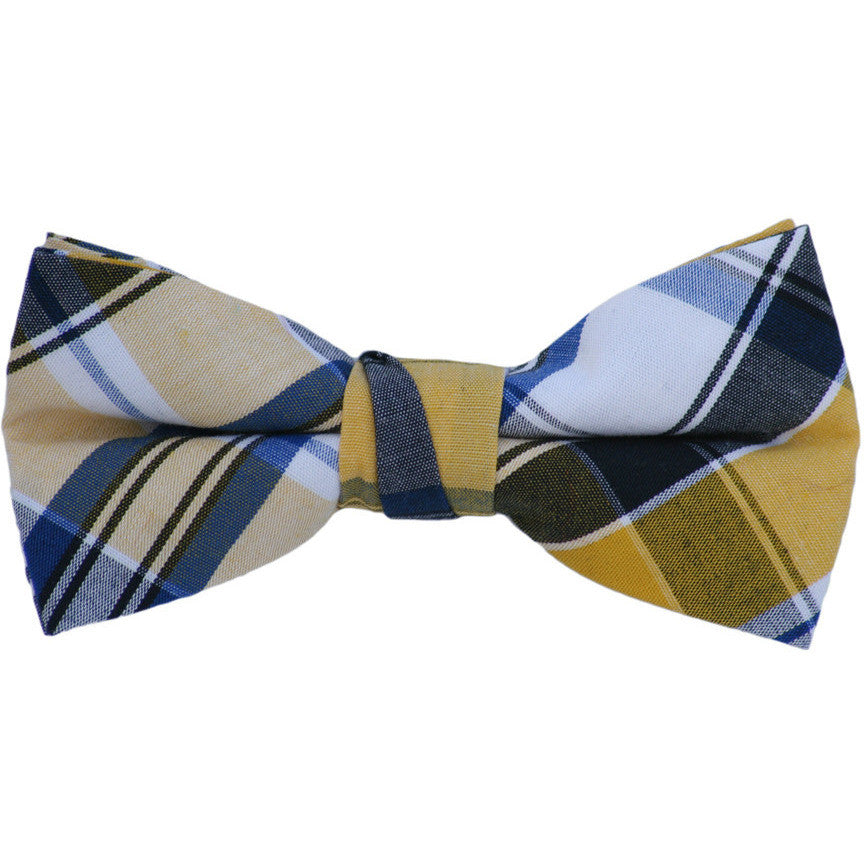 Navy and Yellow Plaid Bow Tie