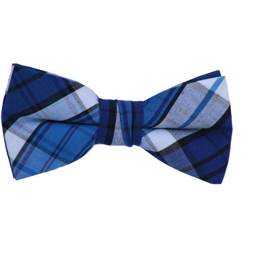 Navy and Blue Plaid Bow Tie