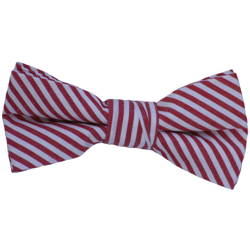 Red and White Stripes Linen Bow Tie