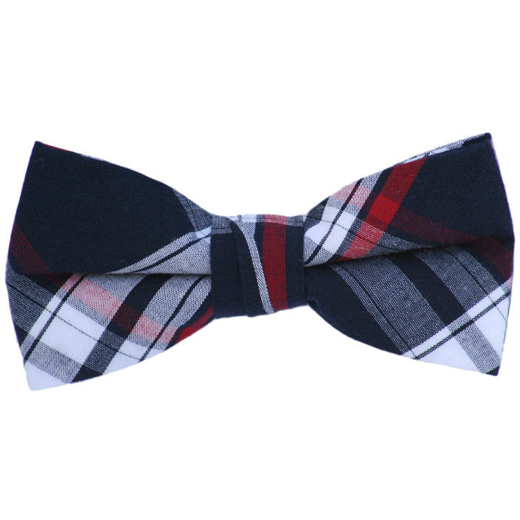 Navy and Red Plaid Patterns Bow Tie