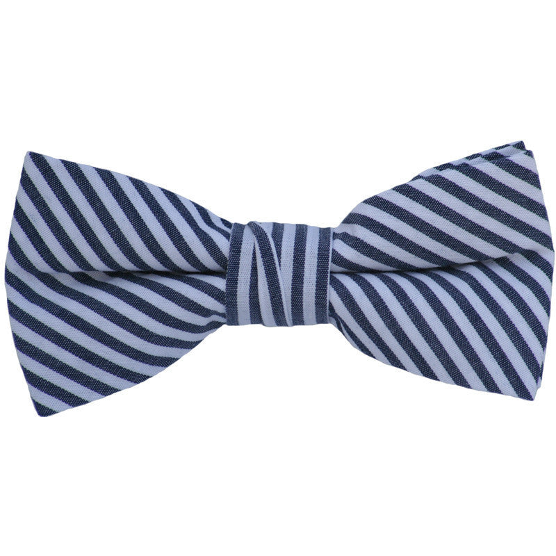 Navy and White Stripes Linen Bow Tie