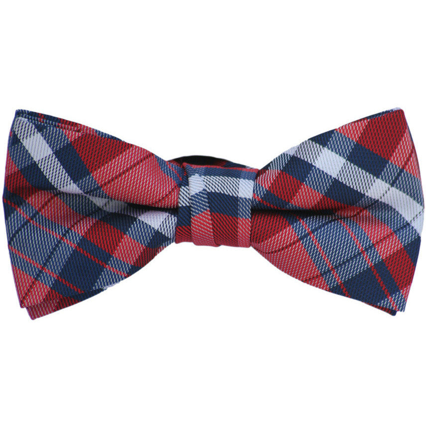 Navy and Red Plaid Bow Tie