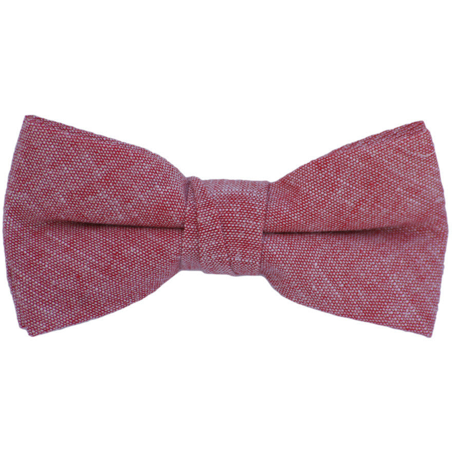 Red Chambray Linen Bow Tie