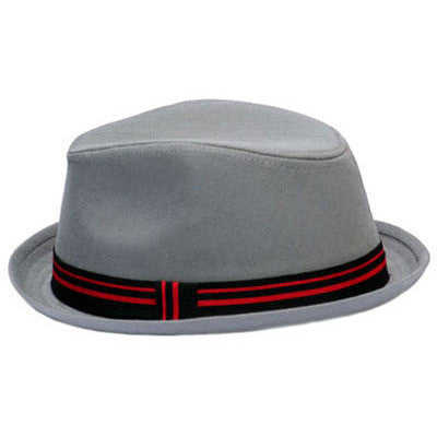 Gray Fedora with Black and Red Stripe
