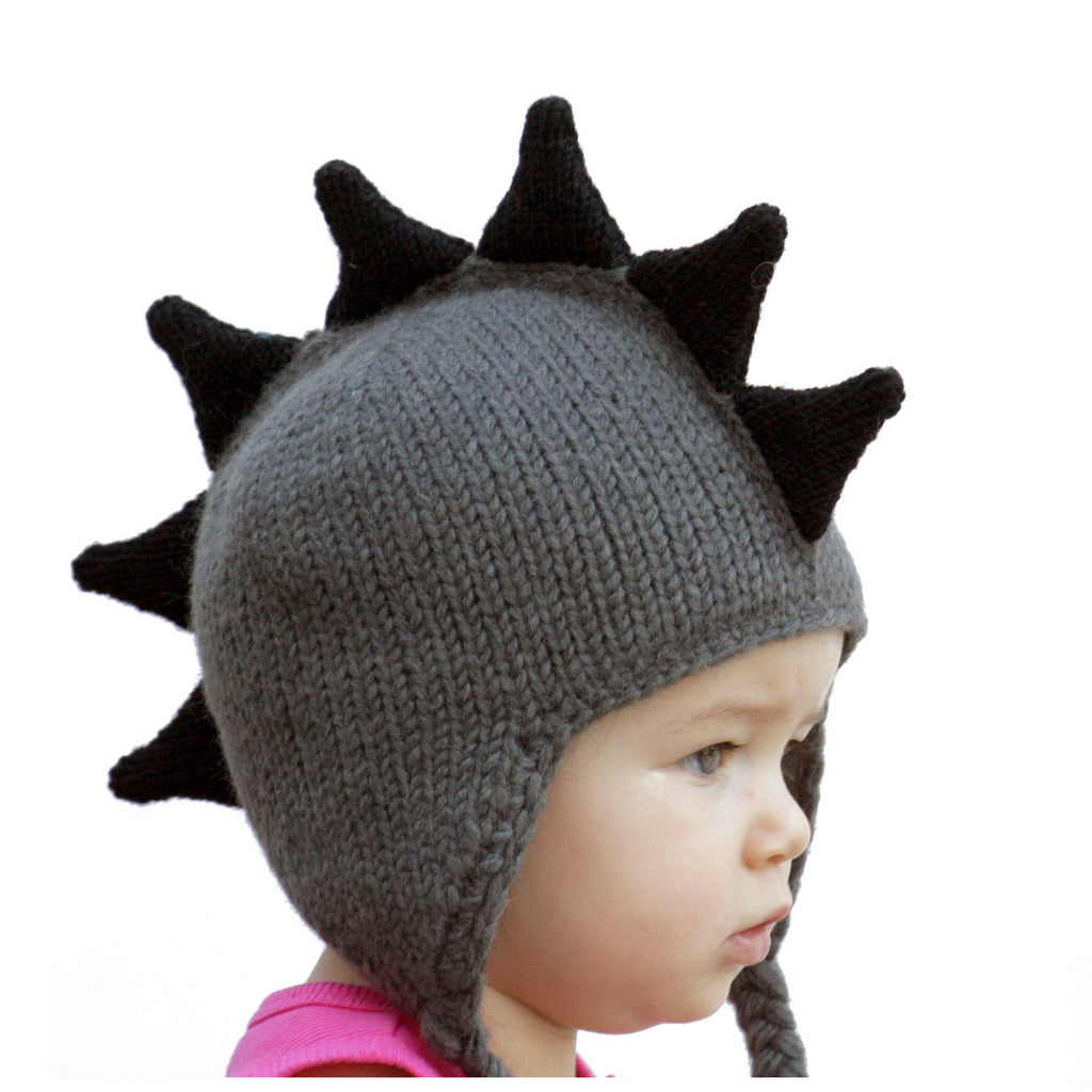 Gray Mohawk  Baby Hat with Black Spikes