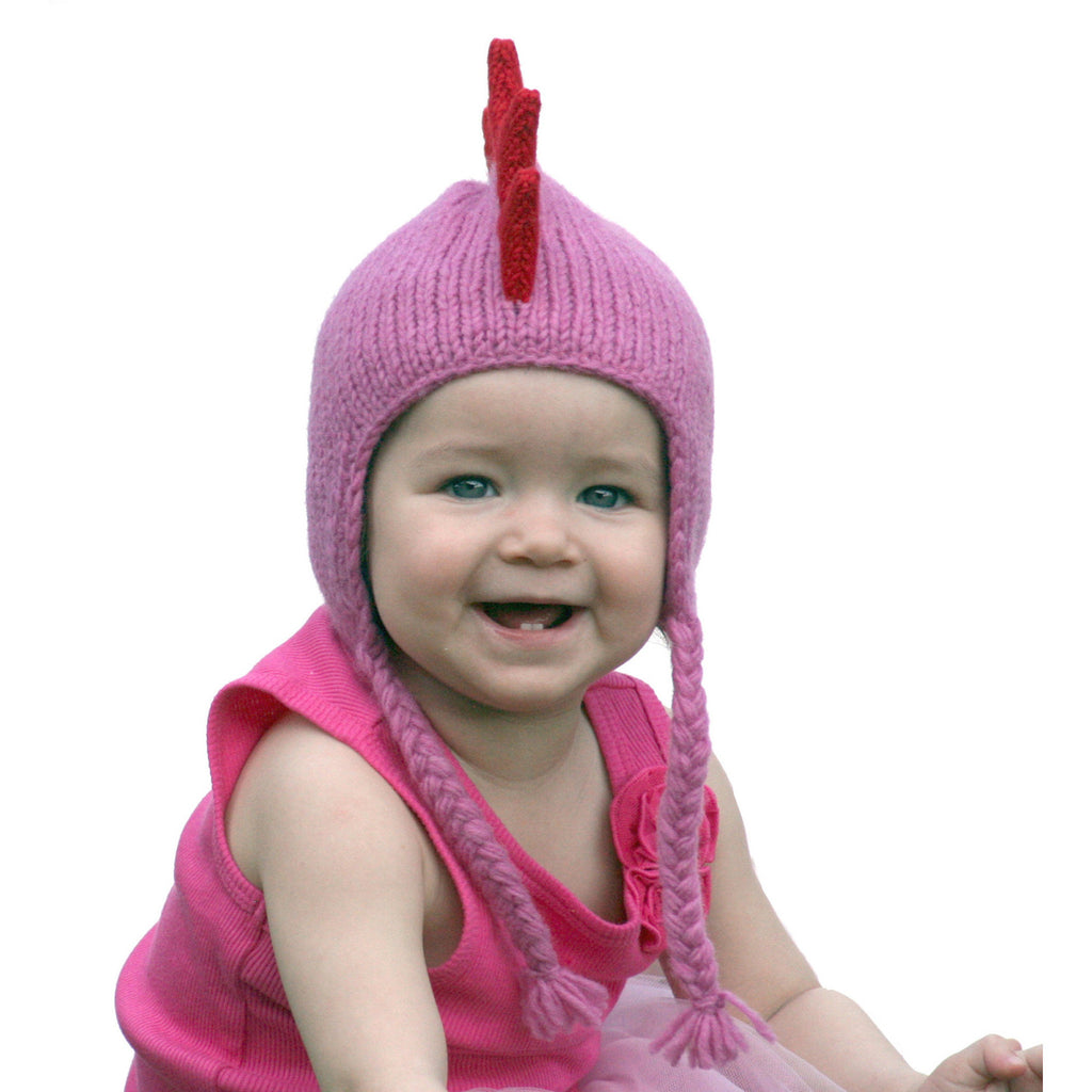 Pink Mohawk Hat with Red Spikes