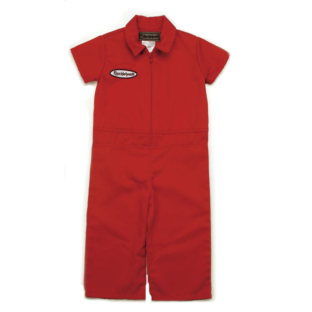 Knuckleheads - Infant and Baby Boy Grease Monkey Red Coveralls