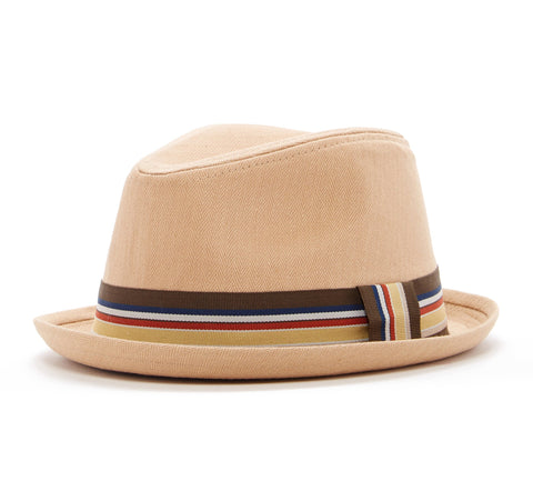 Tan Fedora Hat with Brown Band