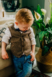 Tan and Brown Ring Bearer Born To Love Kids Vest Wedding Fashion