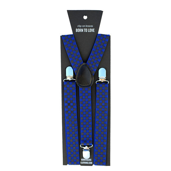 Blue and Gray Checkers Suspenders