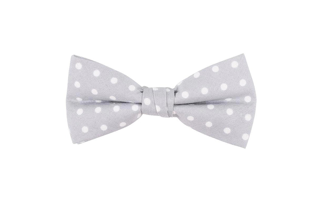 Grey Polka Dotted Birthday Bow Tie
