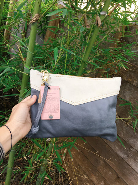 Handmade Two-Tone Leather Wristlet