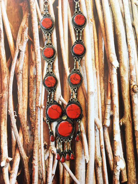 Red Coral Oval Necklace