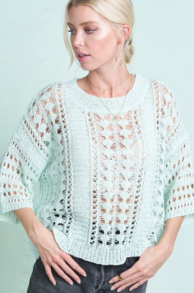 Mint to be- Crochet knit top 🌿