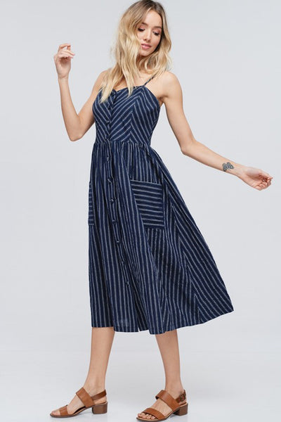 Navy Cotton Dress + Pockets :)