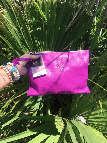 Handmade Leather Wristlet Clutch Bag - Fushia
