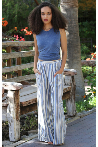 Stripped Wide Leg Cotton Pants