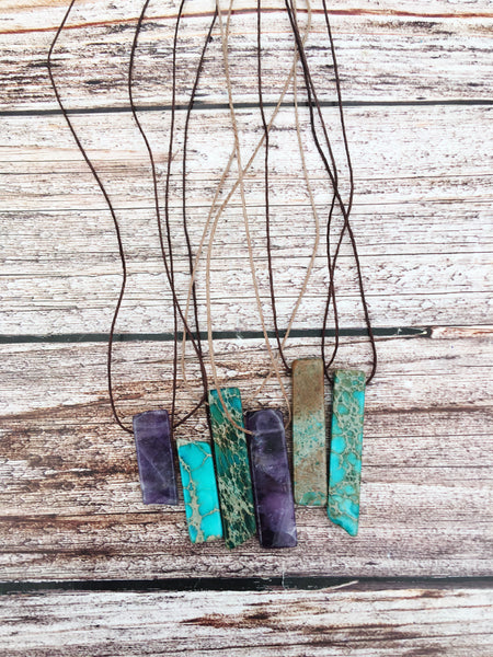 Turquoise & Amethyst Stone Necklace