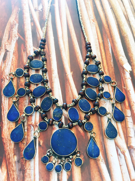 Blue Lapis Drop Statement Necklace