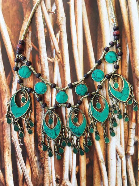 Green Turquoise Feather Necklace