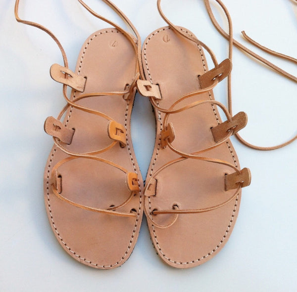 Genuine Leather Handmade Greek Lace Up Sandals- Natural