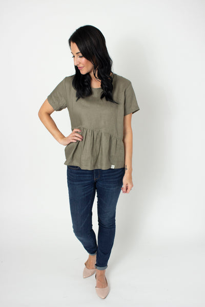 Asy Peplum Linen Top  by, Bytavi