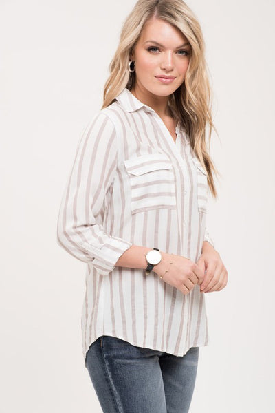 Mocha + Stripes Button Down