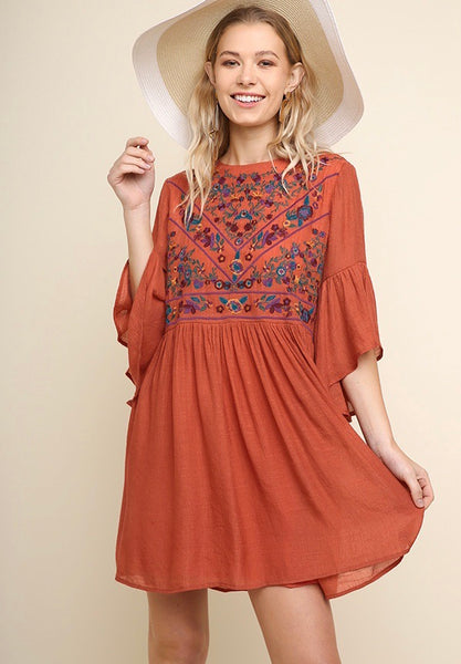 Embroidered Rust Dress