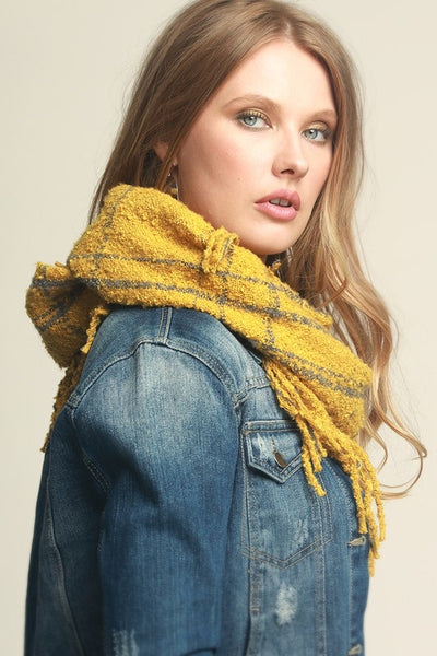 The Fancy Fringe Scarf! Mustard