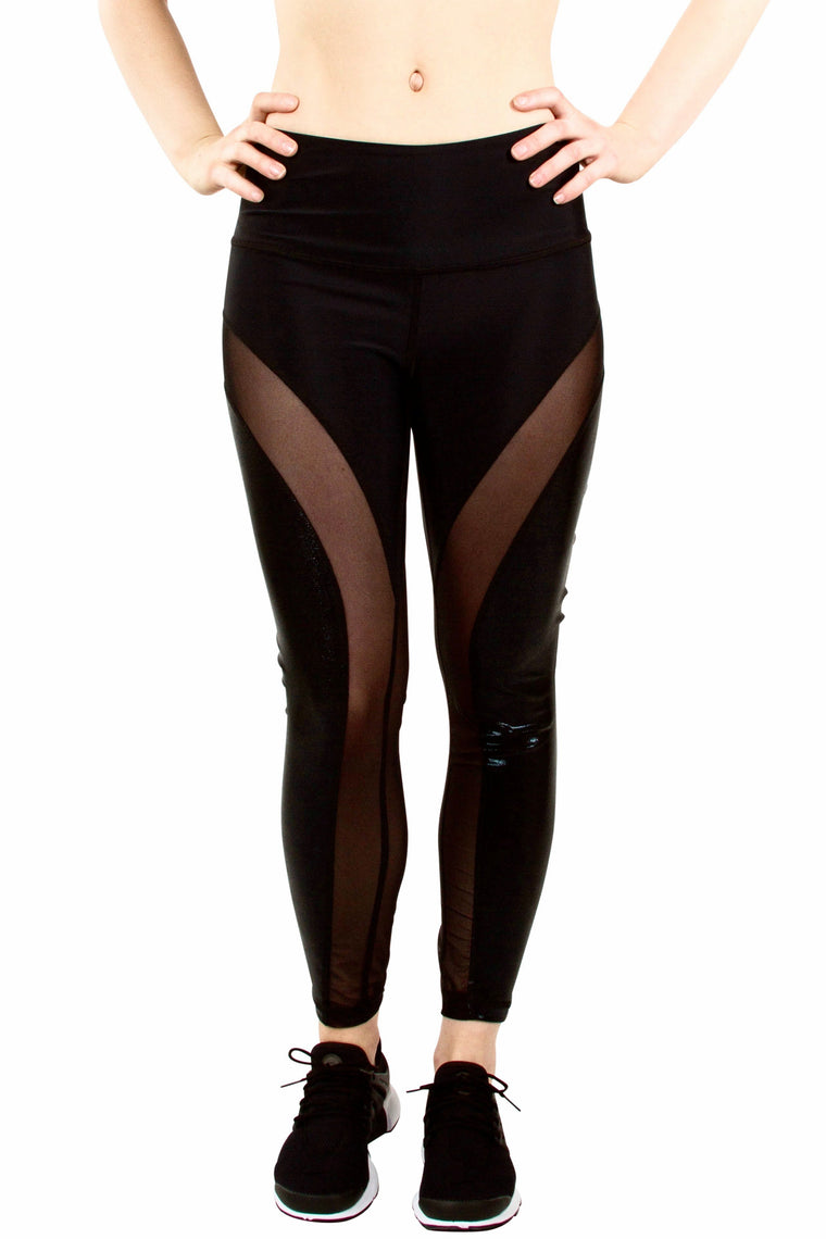 High Waist Mesh Legging - Black Sparkle