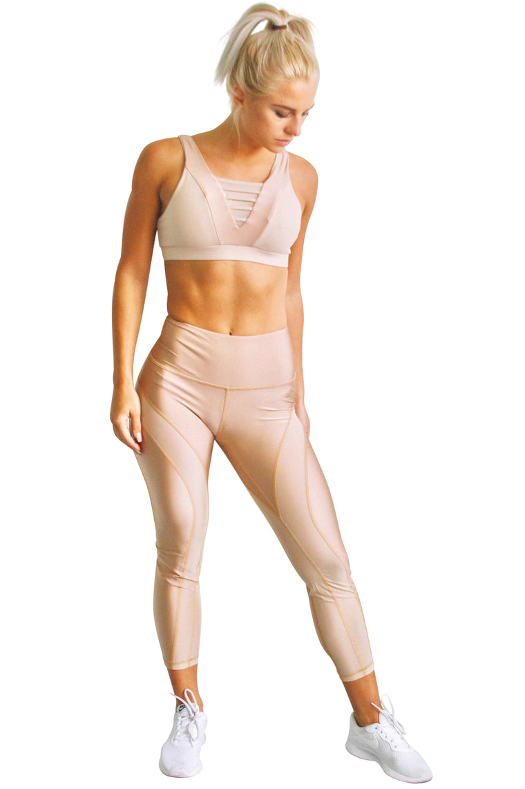 High Waist Mesh Legging - Nude