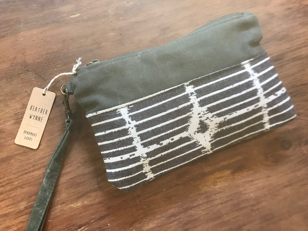 Repurposed Canvas + Stripes Wristlet