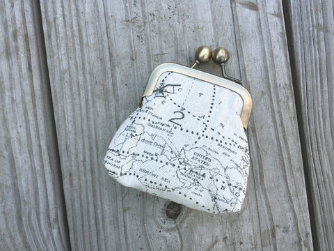 Map Print Coin Purse