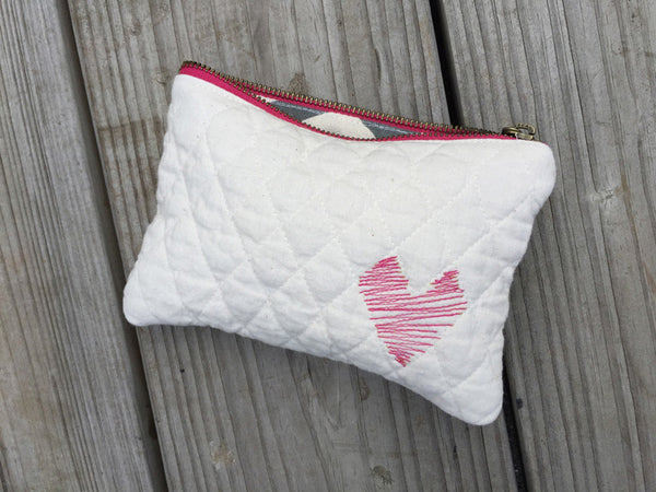 HEART Quilted Zippered Pouch