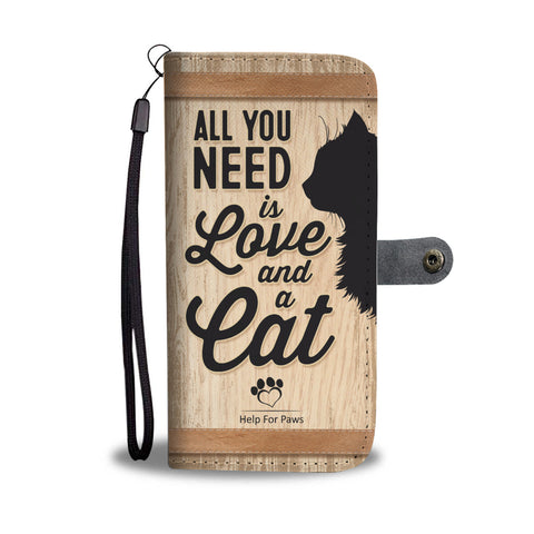 Wallet Case - Love And A Cat Phone Case - IPhone