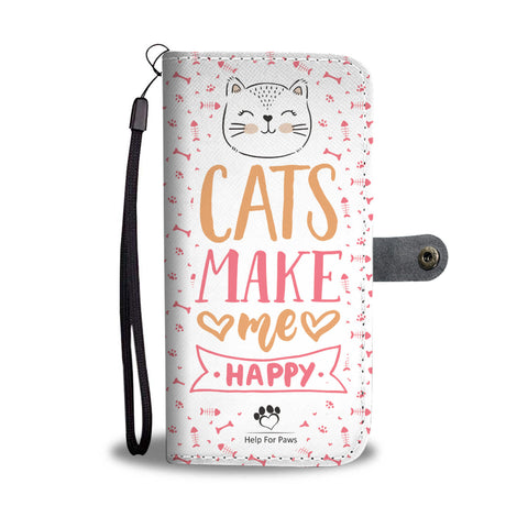 Wallet Case - Cats Make Me Happy Phone Case - LG