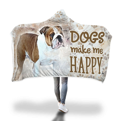 Hooded Blanket - Dogs Make Me Happy Hooded Blanket