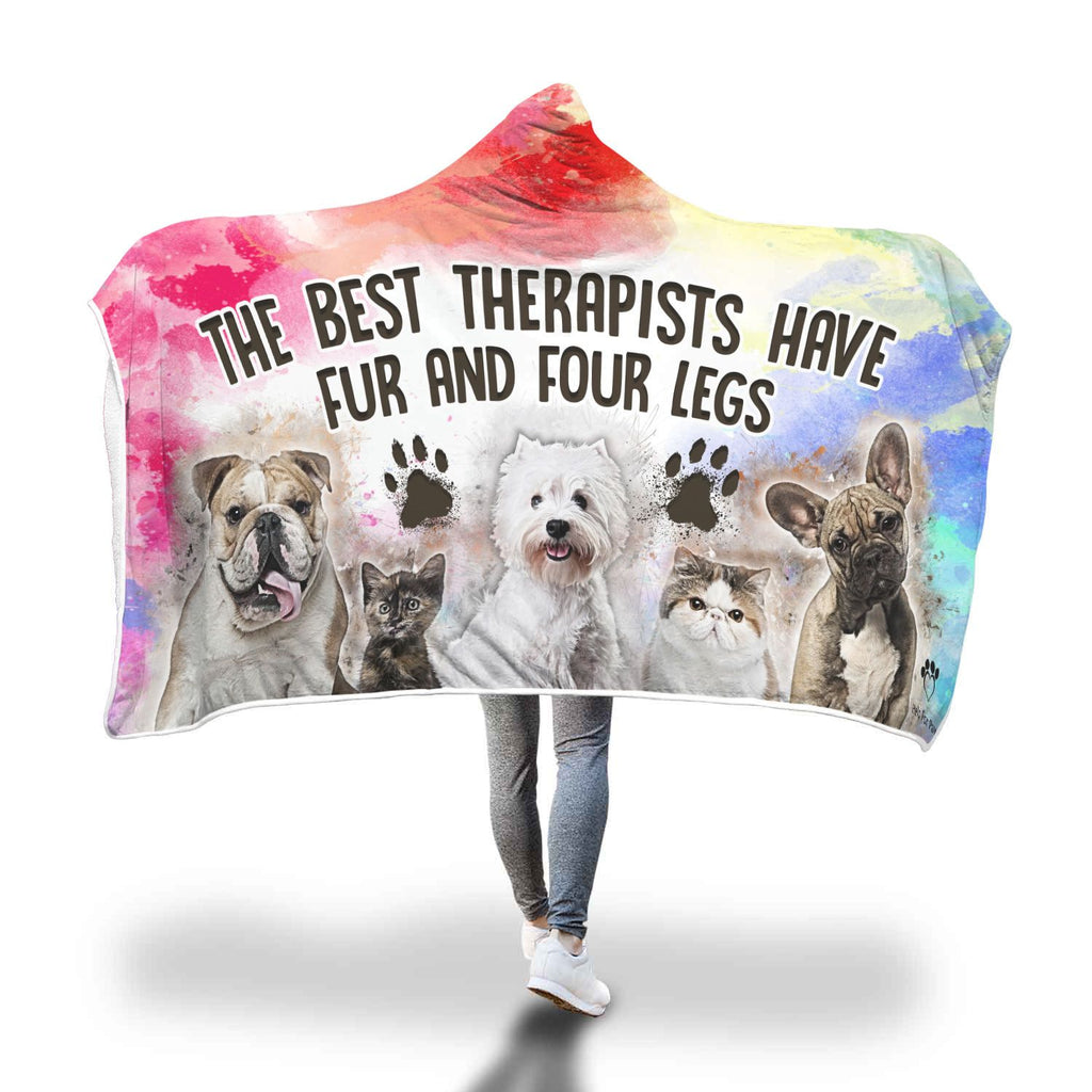 Hooded Blanket - Best Therapists Have Fur And Four Legs Hooded Blanket